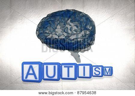 Autism building blocks against grey vignette