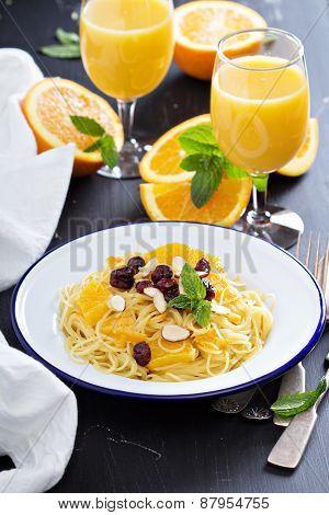 Dessert pasta with orange