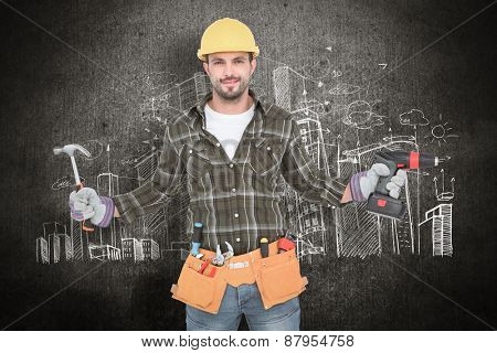 handyman wearing tool belt against hand drawn city plan