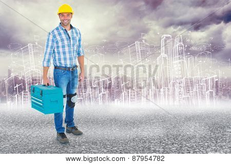 Full length portrait of repairman with toolbox against black road