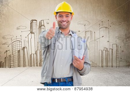 Architect showing thumbs up against hand drawn city plan