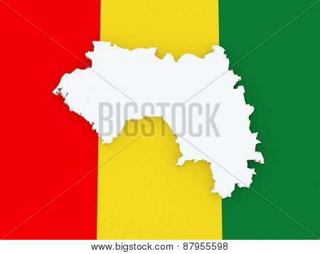Map of Guinea. 3d