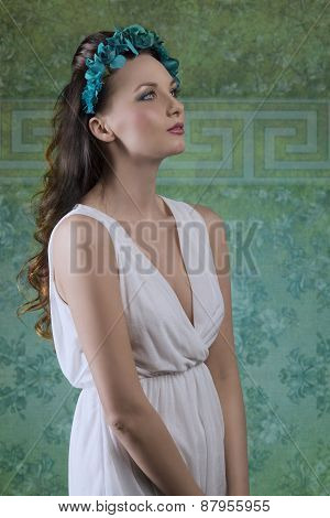 Spring Girl With White Dress