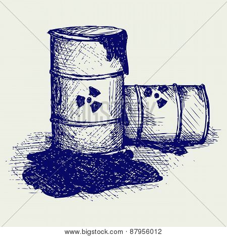 Barrels with nuclear waste