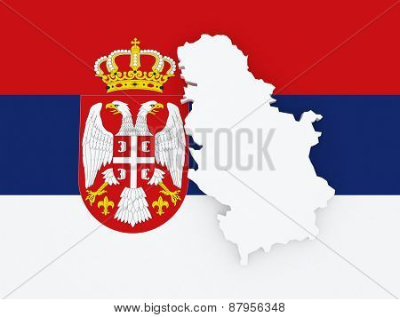 Map of Serbia. 3d