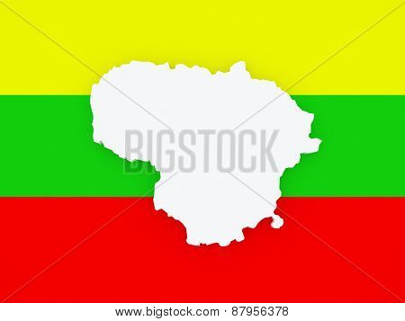 Map of Lithuania. 3d
