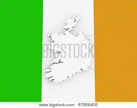 Map of Ireland. 3d