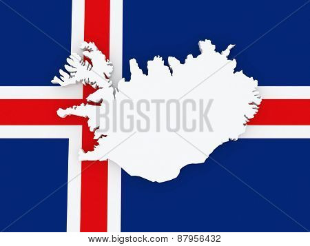 Map of Iceland. 3d