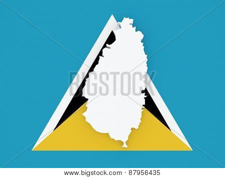 Map of Saint Lucia. 3d