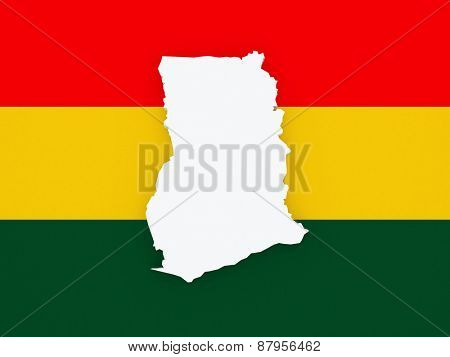 Map of Ghana. 3d