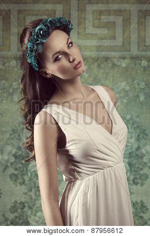 Charming Spring Brunette Girl