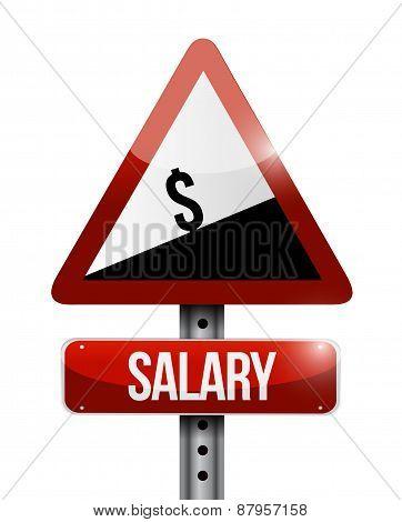 Dollar Salary Falling Warning Sign Illustration
