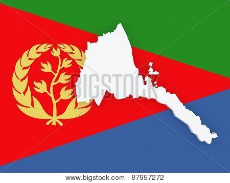 Map of Eritrea. 3d