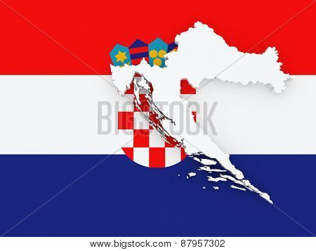 Map of Croatia. 3d