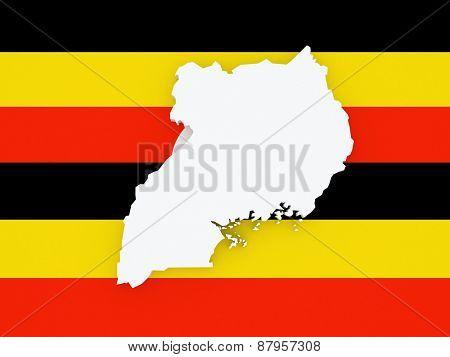Map of Uganda. 3d