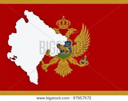 Map of Montenegro. 3d