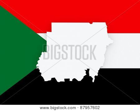 Map of Sudan. 3d