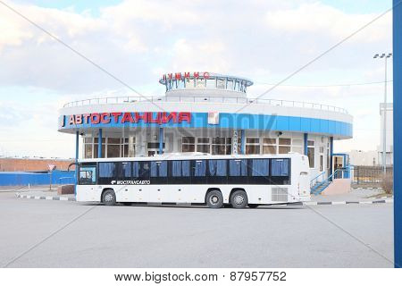 PUSHCHINO, RUSSIA  -  APRIL 09, 2015: Bus station in the city of Pushchino