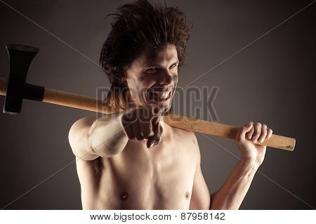laughing lumberjack with an ax in hand