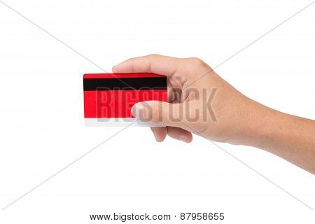Red Credit Card Holding On Hand