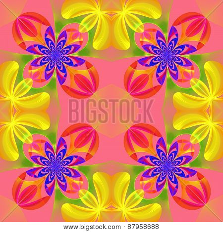 Beautiful Symmetrical Pattern Of The Flower Petals In Fractal Design. Blue, Yellow And Pink Palette.