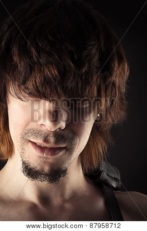 portrait of a handsome man with bangs hair