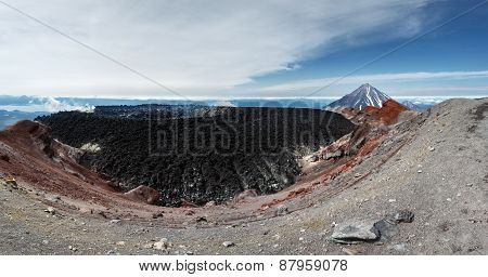 Panorama: Crater Active Avachinsky Volcano. Kamchatka Peninsula