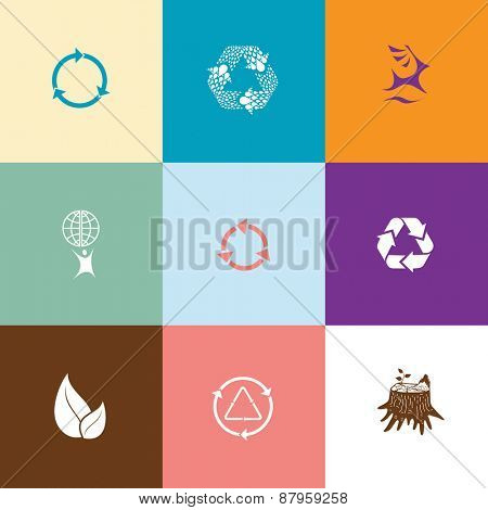 Ecology set. Flat color raster icons.