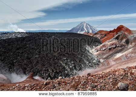 Beauty Crater Active Avachinsky Volcano On Kamchatka Peninsula