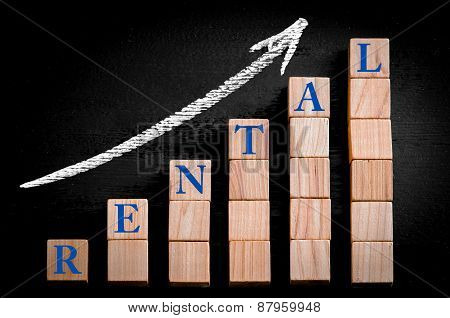 Word Rental On Ascending Arrow Above Bar Graph