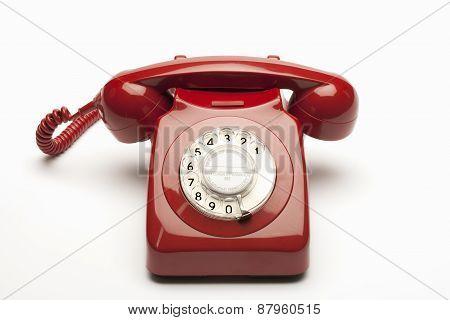 Red rotary telephone