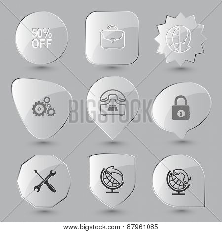 Business set. Raster glass buttons.
