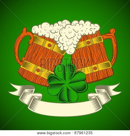 Two wooden mugs of beer on a green background.
