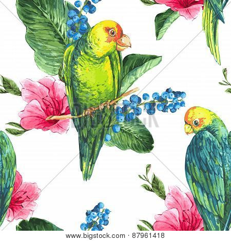 Watercolor Exotic Seamless Background with Blueberries, Pink Tropical Flowers and Green Parrots