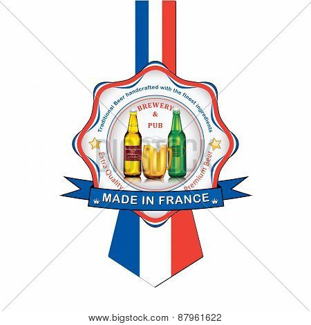 French Beer advertising sticker / label for print