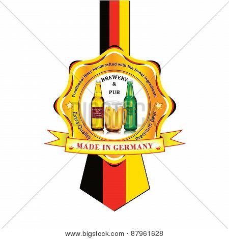 German Beer advertising sticker / label for print