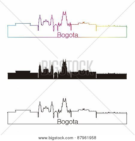 Bogota Skyline Linear Style With Rainbow