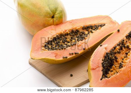 Papaya Halved With A Longitudinal Cut