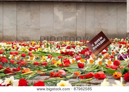 Flowers At The Monument In The May 9 Victory Day