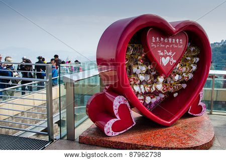 Love messages in red heart at Victoria Peak in Hong Kong