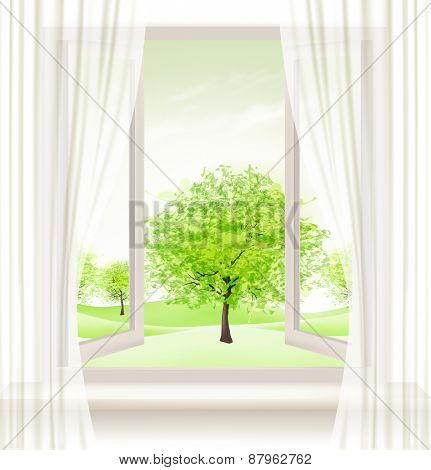 Background with an open window and green trees. Vector.