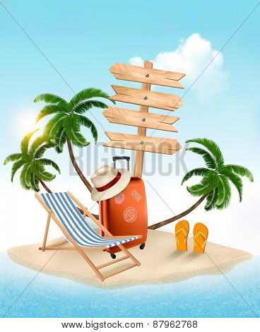 Beach with a palm tree, wooden sign and a beach chair. Summer vacation concept background. Vector.