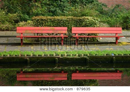 Red Park Bench