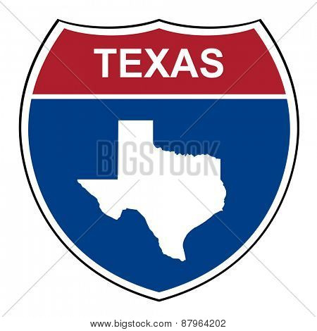 Texas American interstate highway road shield isolated on a white background.