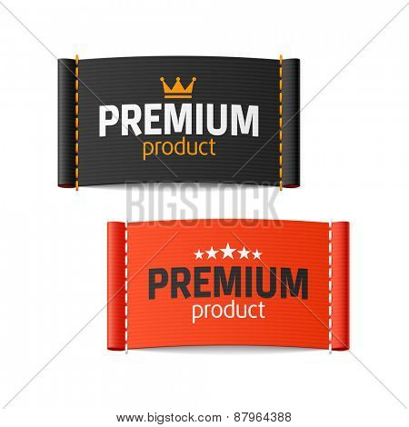 Premium product clothing label. Vector.