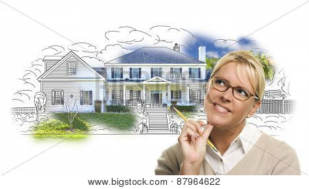 Woman with Pencil Over House Drawing and Photo Combination on White.