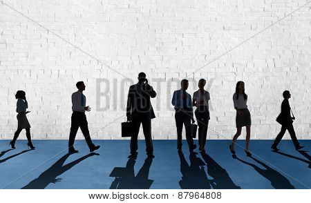 Silhouette People Global Business Cityscape Teamwork Concept