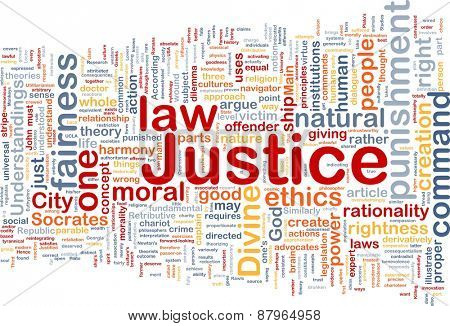 Background concept wordcloud of justice law