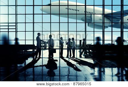 Business Travel Handshake Commuter Terminal Airport Concept