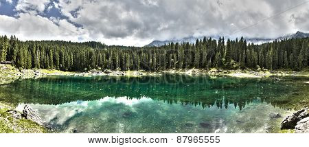 Lake Of Carezza And Forest